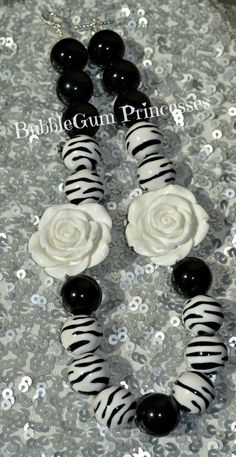 Chunky BubbleGum bead necklace BLACK and WHITE ZEBRA jewelry Princess Toddler Children on Etsy, $18.00