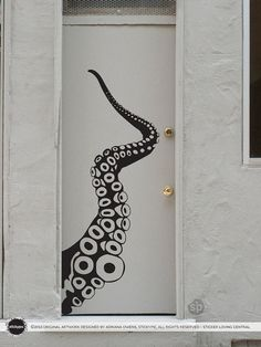 Giant Tentacle Wall/Door Decal (Vinyl Sticker Decal Wall Door Art Nature Octopus Sea Marine)
