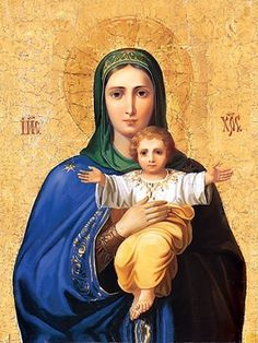 This icon of I Am With Thee And No One Will Assault Thee can be ordered online. The workshop of St Elisabeth Convent offers this icon in several sizes Blessed Mother Mary, Divine Mother, Blessed Virgin Mary, Religious Icons, Religious Art, Religious Images, Mother And Child, I Love You Mother, Hail Holy Queen