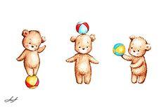 Anna Abramskaya - Gallery 'Illustration' Cute Bear Drawings, Easy Drawings, Animal Drawings, Baby Illustration, Character Illustration, Urso Bear, Panda Drawing, Baby Posters, Mishka