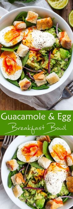 Guacamole and Egg Breakfast Bowl - use your favorite homemade sauce to ...