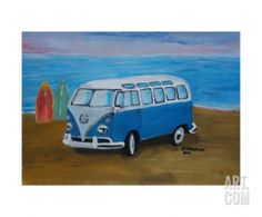 """The Blue Volkswagen Bulli Surf Bus with Surfboard. This stretched canvas print is the result of sophisticated digital printing technology in which the image is printed directly onto an artist-grade, 100% cotton canvas. The canvas is then expertly stretched around 1.5"""" wooden bars and carefully finished with hand-painted edges. An acrylic coating protects the stunning giclee print from dust, moisture and fading. Watermark will not appear on finished product.  Artist- MartinaBleichner"""