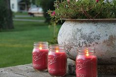 Candles give a good look on your garden too much more if it helps you get away mosquitoes. This is what Natural Rosemary and Sage Mosquito Repellent Candles can do for you! Available in Set of Love Garden, Garden Art, Garden Design, Candle Jars, Mason Jars, Candles, Cozy Christmas, Christmas Gifts, Handmade Christmas Decorations