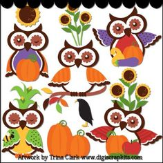 Autumn Owls 1 Clip Art  $4.50 Sale: $0.88  Save: 80% off  Keywords: owls, autumn, fall, pumpkins, sunflowers, corn, crows    This collection includes very large graphics so they'll work well for printed projects, but can also be reduced in size for web graphics. All images are high quality 300 dpi and come in both transparent PNG and non-transparent JPG formats. Original artwork by Trina Clark.
