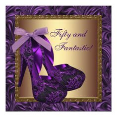 High Heel Shoes Womans Purple 50th Birthday Party Custom Invitations
