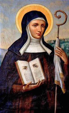 Saint Odile of Alsace  ---  I don't know her story, but from the looks of that book she's holding, I bet her story is an interesting one!
