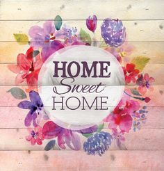 Home Sweet Home Bright Watercolor Flower Design 12 x 12 Wood Lath Wall Art Sign Plaque ** Check this awesome product by going to the link at the image. (This is an affiliate link and I receive a commission for the sales)
