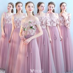 Beauty Emily Six style available Pink Bridesmaid Dresse 2018 A-line Wedding Party Prom Dresses Vestido De Festa Party Dresses(China) Long Gown For Wedding, Buy Wedding Dress, Wedding Dresses 2018, Party Gowns, Wedding Dress Styles, Wedding Party Dresses, Prom Dresses, Blush Pink Bridesmaid Dresses, Wedding Bridesmaids