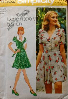Simplicity 5562, Vintage 1973, remake of 1940's fashion dress with gored skirt, bodice; size Misses 10