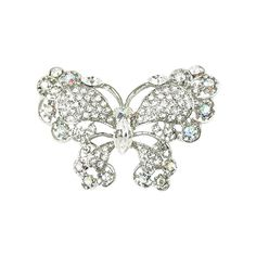 Butterfly Clear and Aurora Borealis Crystal Brooch With Gift Box