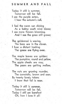 summer to fall poem