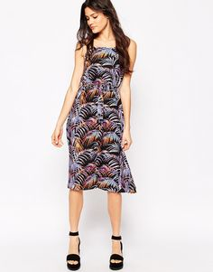 Influence+Tropical+Print+Cami+Midi+Dress
