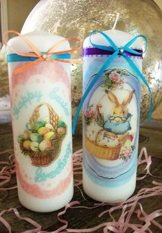 Easter Candle bunny basket eggs decoration