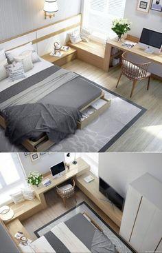 Dormitorio multifuncional pequeño y elegante con tonos blancos y grises - Small and elegant bedroom with grey and white tones with wood