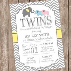 Elephant Twins Baby Shower Invitation, twin girl, twin boy, boy and girl twins, pink, blue, yellow, typography, printable, digital file