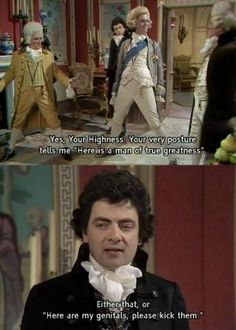 Black Adder! Fabulous historical comedy TV show with Rowan Atkinson, Stephen Fry, Hugh Laurie, Miranda Richardson, Tony Robinson, Tim McInnerny, and guest-starring luminaries like Brian Blessed, Miriam Margolyes, and Robbie Coltrane.