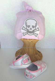 AB ϟ CD skulls knot hat & shoe set ChOoSe YoUr SiZe by heysista