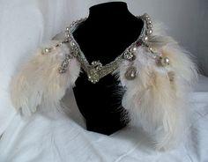 angel wing neckpiece by HopscotchCouture on etsy