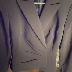 Tahari navy Wrap blazer Oscar size 4 NWT! Brand new with tags! Fist photo color is off, it is Navy.  Beautiful wrap style blazer! Great for work! Very stylish! I love but it's too big on me. My loss is your gain! Tahari Jackets & Coats Blazers