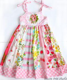 Patchwork Princess -- Vintage Fabric Dress (pinks)