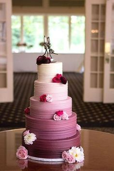 Sweet And Fun Ideas Ombre Wedding Cakes Mix ombre effect with flowers ruffles and watercolor wedding cakes. Ombre wedding cakes look lovely. See more: Pretty Cakes, Beautiful Cakes, Amazing Cakes, Beautiful Wedding Cakes, Watercolor Wedding Cake, Purple Wedding Cakes, Wedding Flowers, Burgundy Wedding Cake, Floral Wedding