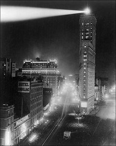 NEW YEARS: New York City Times Square, New Years Day 1908: Photo of the first year that the illuminated ball was dropped from atop the New York Times Building. It was actually dropped one minute after midnight.