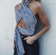 〰️Trendy striped crossover blue & white crop top with black jeans〰️