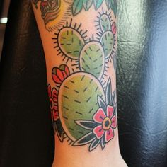 Cactus With Flowers Traditional Tattoo By Fran Massino