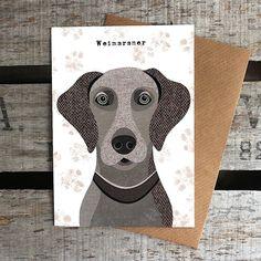 Weimaraner Greetings Card by SimonHartArtist on Etsy