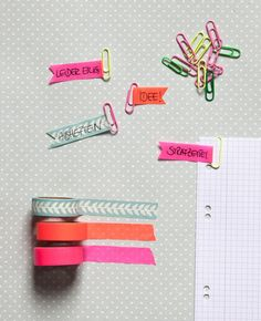 Ideas diy paper clips bookmarks washi tape for 2019 Washi Tape Crafts, Paper Crafts, Diy Crafts, Washi Tapes, Diy Paper, Planner Stickers, Planner Organization, Organizing, Paper Clip