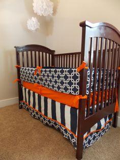 Custom 3 piece Crib Bedding  Navy Orange by RainyDayDivineLLC, $225.00