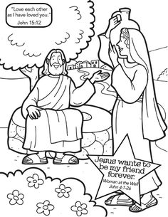 New Coloring Pages. Woman at the well with jesus coloring page. Woman At The Well Coloring Page - AZ Coloring Pages. Most Complete Coloring Pictures. Sunday School Activities, Church Activities, Bible Activities, Sunday School Lessons, Sunday School Crafts, Childcare Activities, Preschool Coloring Pages, Preschool Bible, Bible Coloring Pages