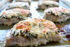 Three ingredient recipe. Best Pork Chops EVER!!! Such a simple weeknight dinner. Kid Friendly and all around delicious. Three ingredients and 45 minutes in the oven. The Baked Parmesan cheese is so perfect. ~ http://reallifedinner.com