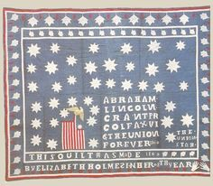 Quilt celebrating Lincoln and Grant by Elizabeth Holmes, 1869---private collection.
