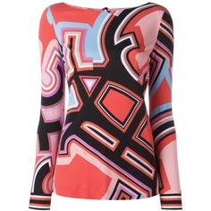 Emilio Pucci Monogram Print Blouse ($622) ❤ liked on Polyvore featuring tops, blouses, multicolour, emilio pucci tops, print top, colorful tops, emilio pucci and pattern blouses