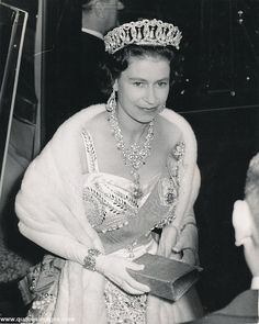 A lovely image of the Queen wearing the pearl version of the Vlad tiara, circa early to mid 1960s