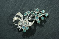 Vintage 1940s  Retro Aqua and Clear by VintageJewelleryFun on Etsy