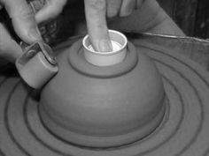 How to roll a foot on a bowl and cup. very interesting way of making a foot ring for your pot