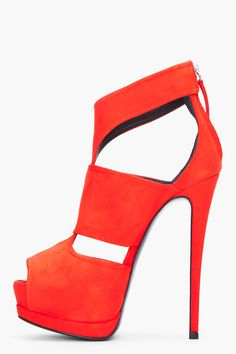 Giuseppe Zanotti Red Suede Sharon Pumps....