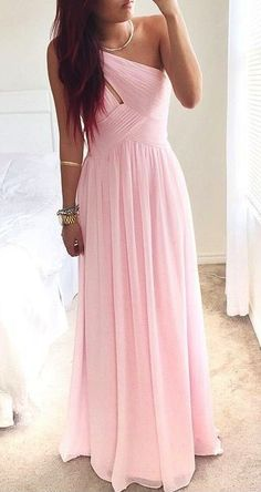 Pretty Pink One-Shoulder Simple Prom Dress this dress is so pretty and sheer