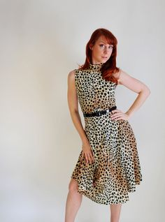 1960s Brown Black Cheetah Leopard Print Dress Sexy by gogovintage, $65.00