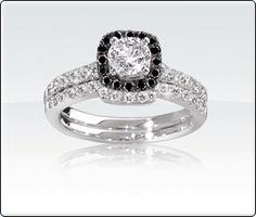 1/4ct T.W. Black & White Diamond Engagement Band.