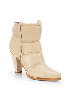Chloe Padded Leather & Suede Runway Ankle Boots