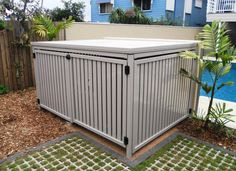 Pool storage box & Some designs include access ramps to facilitate items such as four-wheelers or snowmobiles. Pool Storage Box, Patio Storage, Storage Ideas, Pool Equipment Enclosure, Pool Equipment Cover, Piscine Diy, Hidden Pool, Pool Porch, Moderne Pools