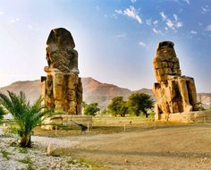 The Colossi of Memnon in Luxor. They reach a towering 18 m (60 ft) in height and weigh an estimated 720 tons each