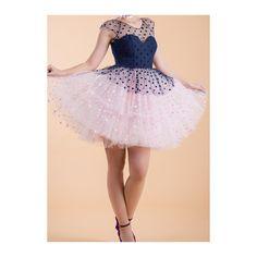 Rotita Gauze Polka Dot Print Short Sleeve Dress ($24) ❤ liked on Polyvore featuring dresses, navy blue, pink dress, pink a line dress, short sleeve a line dress, navy dress and a line mini dress