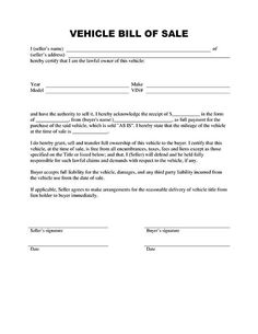 Basic Bill of Sale Form - Printable Blank Form Template | Blank ...