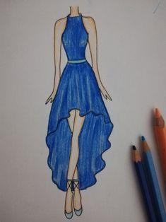 Dress Design Drawing, Dress Design Sketches, Fashion Design Sketchbook, Fashion Design Drawings, Fashion Sketches, Art Drawings Sketches Simple, Cute Drawings, Fashion Drawing Dresses, Colored Pencil Drawings