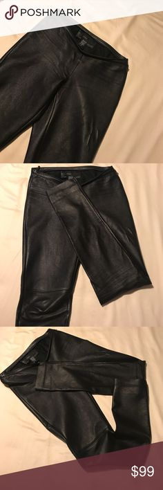 Genuine leather skinny/straight leggings Perfect condition . Side zipper and snap closure . No stretch . Purchase from Victoria Secret . avanti Pants Leggings