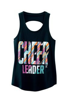 This trendy multi-color black tank with fun open back detail is stealing the show for cheerleaders this year. Pair it up with a neon sports bra top with fun strap designwith the open back top.